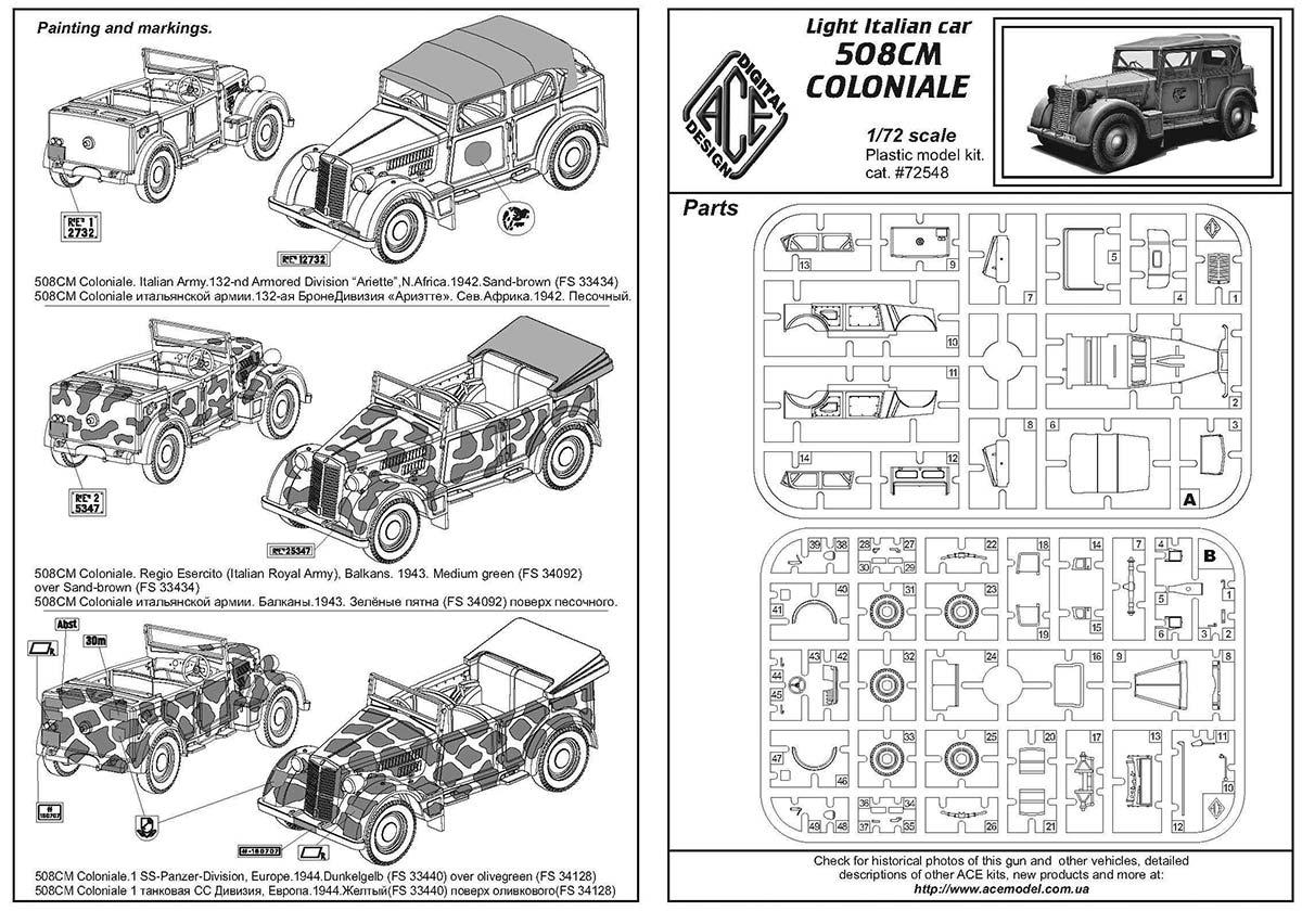 ACE: Model Italian light military vehicle 508 CM Coloniale
